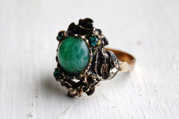 Vintage 1960s Distressed Marble Statement Ring