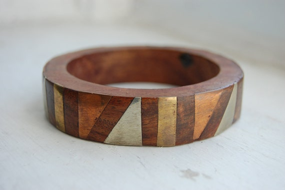 Vintage 1970s Geometric Patina Wood Bangle Bracelet