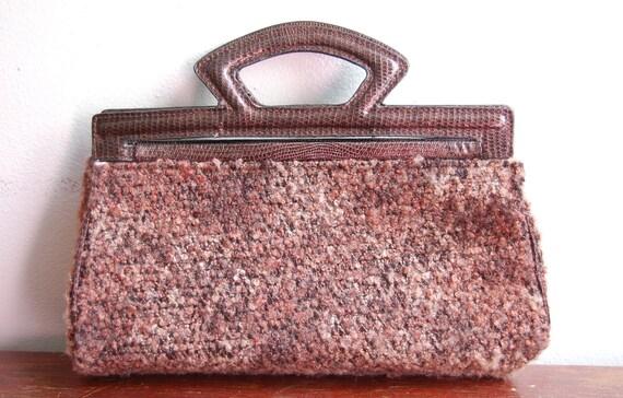 Vintage VICTORIA'S SECRET Merlot Faux Crocodile Carpet Bag