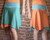 Reversible Skirt in Turquoise and Orange - S - 4/6