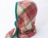 Hooded Cowl in Orange Plaid Wool with Linen Lining : Womens, Girls Hats