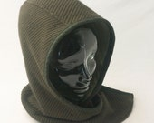 Hooded Cowl in Olive Green Sweater Knit Wool : Womens Hats, Mens Hats