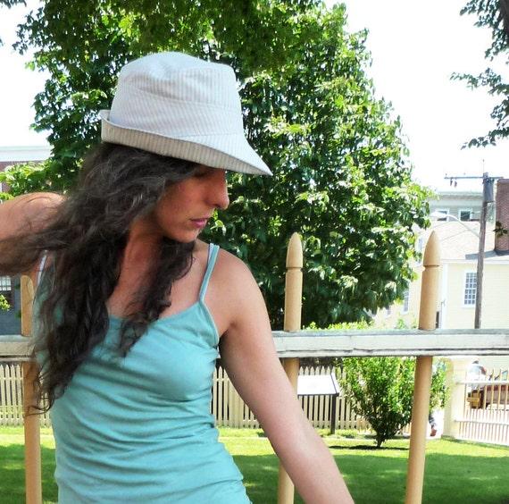 Pale Gray Pinstripe Cotton Sunhat : Womens Hats - L