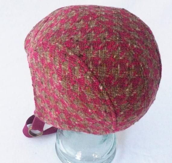 Aviator Hat in Fuchsia Hounds Tooth Wool : Womens Hats, Girls Hats - Amelia