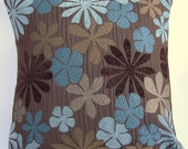 Brown Throw Pillow Cover with Turqouise Blue, Aqua & Tan Flowers - 18 x 18