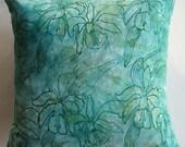 Teal and Aqua Batik Pillow Cover - Tropical Orchid Cushion Cover - 16 x 16