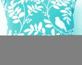 Turquoise Throw Pillow - Indoor Outdoor Tiffany Blue Birds Cushion Cover - 18 x 18