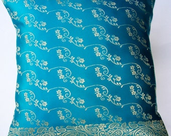 Turquoise Pillow Cover -- Silky Sari Cushion Cover -- 16 x 16