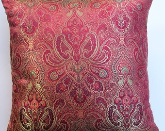 Red and Gold Throw Pillow Cover - Satin Brocade Cushion Cover - 16 x 16