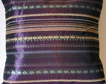 Plum Purple Pillow Cover with Green and Gold Stripes - 18 x 18