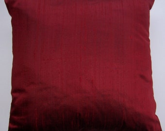 Red Pillow Cover -- Silk Red Throw Pillow -- Cushion Cover -- 18 x 18