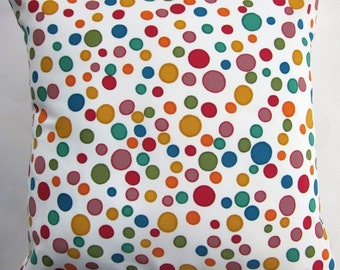 Jewel Circles Throw Pillow Cover - Silky Cushion Cover with Dots in Turquoise, Teal, Red, Orange, Gold and Green - 18 x 18