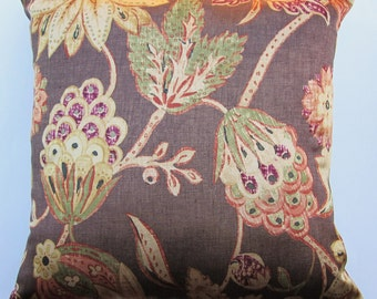 Brown Pillow Cover with Rust, Gold, Green and Plum Flowers - 18 x 18