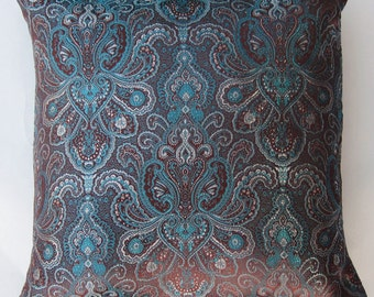 Brown and Teal Brocade Throw Pillow Cover - 16 x 16
