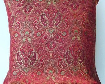Red and Gold Throw Pillow Cover - Satin Brocade Cushion Cover - 18 x 18