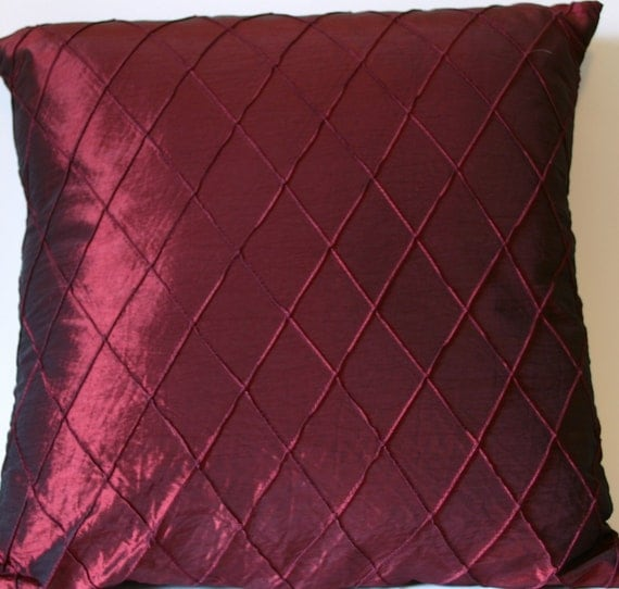 Burgundy Throw Pillow Cover Silky Red Cushion Cover 18 X