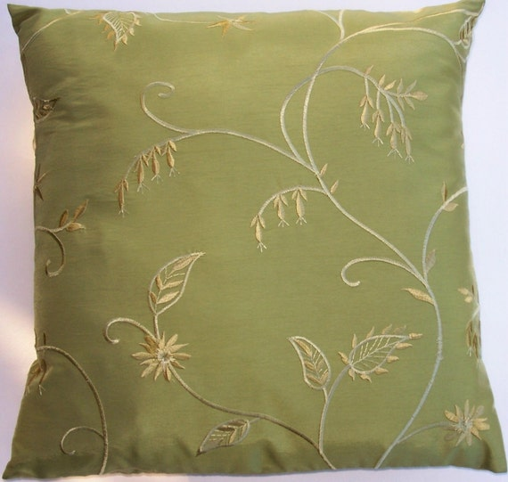 Etsy Yellow Throw Pillow : Green Throw Pillow Cover Silky Yellow Green Cushion Cover