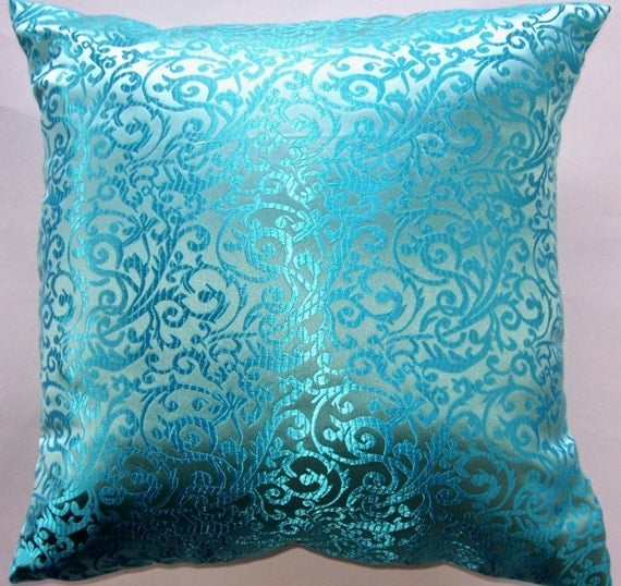 Items similar to Turquoise Throw Pillow - Satin Brocade Cushion Cover - 18 x 18 on Etsy