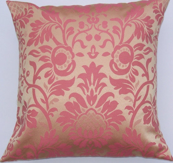 Gold and  Pink Throw Pillow -- Honeysuckle Damask Cushion Cover -- 16 x 16