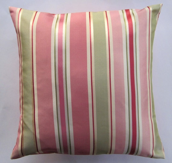 Coral Pink Throw Pillow Cover -- Coral, Pink, Green Stripe Decorative Cushion Cover -- 16 x 16