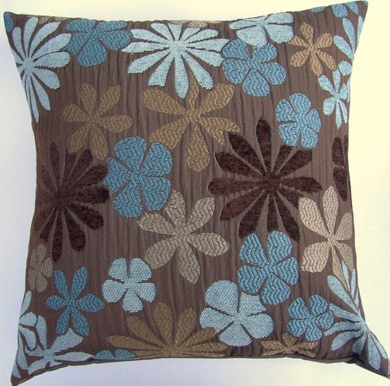 Brown Throw Pillow Cover with Turqouise Blue Aqua & Tan