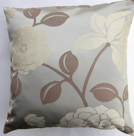 Items similar to Blue Pillow Cover -- Spa Blue Magnolia Throw Pillow Cover -- 16 x 16 on Etsy