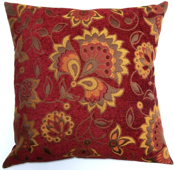 Brick Red Throw Pillow Cover Red and Rust Cushion Cover