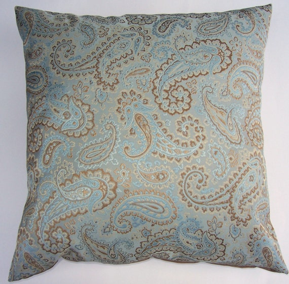 Robin Egg Blue and Brown Throw Pillow Cover Paisley