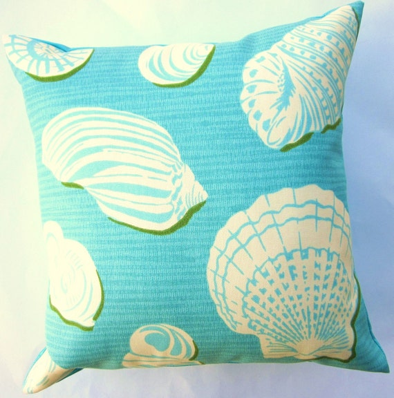 Turquoise Pillow Cover - Turquoise and White Shells Throw Pillow -- Turquoise Cushion Cover - 16 x 16