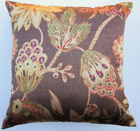 brown pillow cover with rust gold green and plum flowers. Black Bedroom Furniture Sets. Home Design Ideas