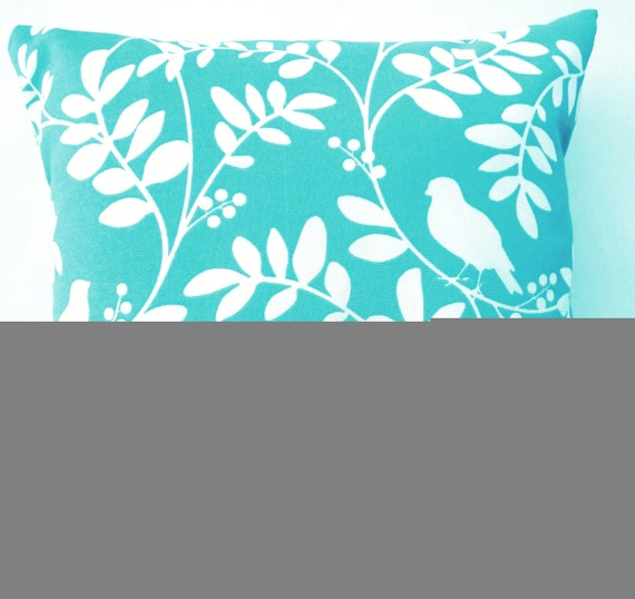 turquoise throw pillow indoor outdoor tiffany blue birds. Black Bedroom Furniture Sets. Home Design Ideas
