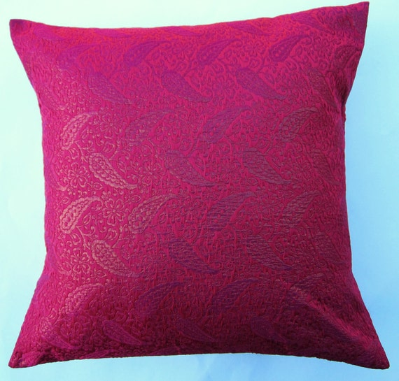 Hot Pink Throw Pillow Cover Fuschia Silk Brocade by sassypillows