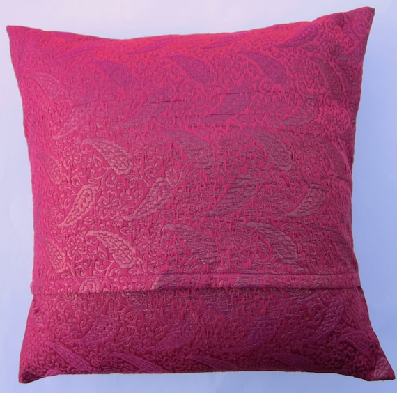 Hot Pink Throw Pillow Cover Fuschia Silk Brocade Cushion