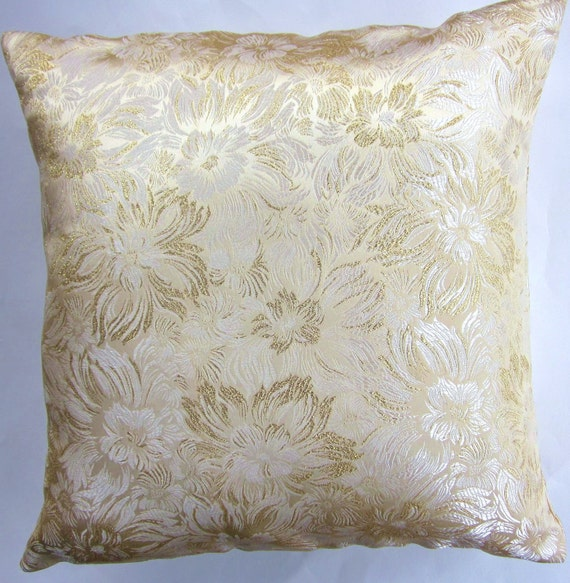 White Gold Throw Pillow : Gold and Ivory Throw Pillow Cover White and Gold Decorative