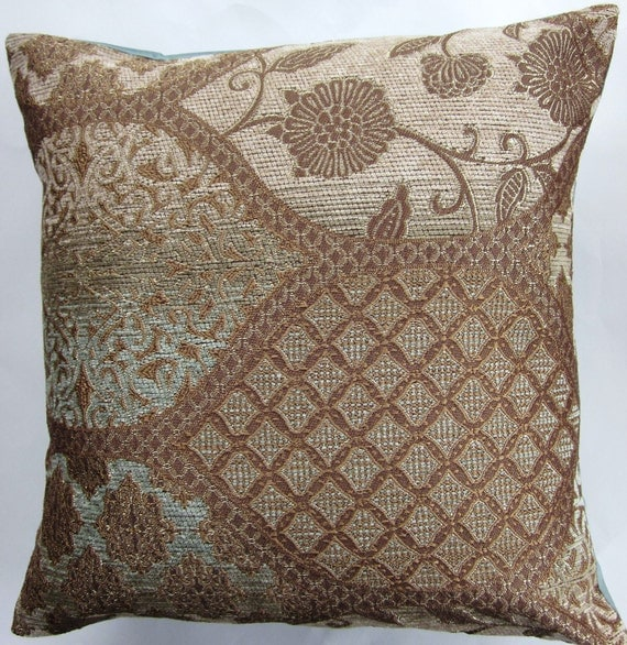 Brown and Robins Egg Blue Throw Pillow Cover Light Brown and