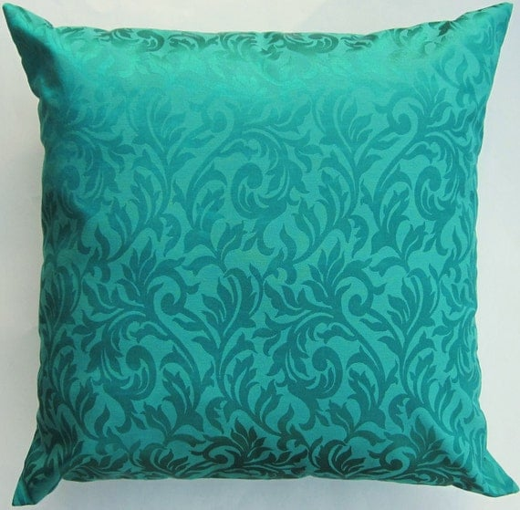 Teal Green Throw Pillow Cover - Teal on Teal Cushion Cover - 18 x 18