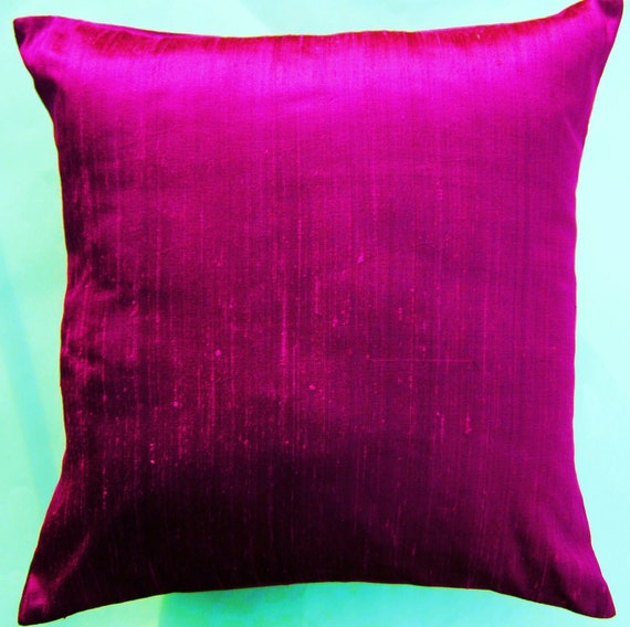 Pink Purple Decorative Pillows : Magenta Pillow Cover Purple Pink Silk Throw Pillow Cover