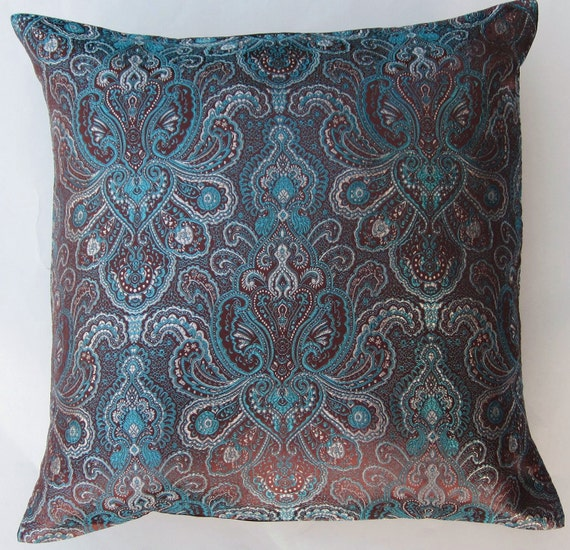 Brown Throw Pillows Etsy : Items similar to Brown and Teal Brocade Throw Pillow Cover - 16 x 16 on Etsy