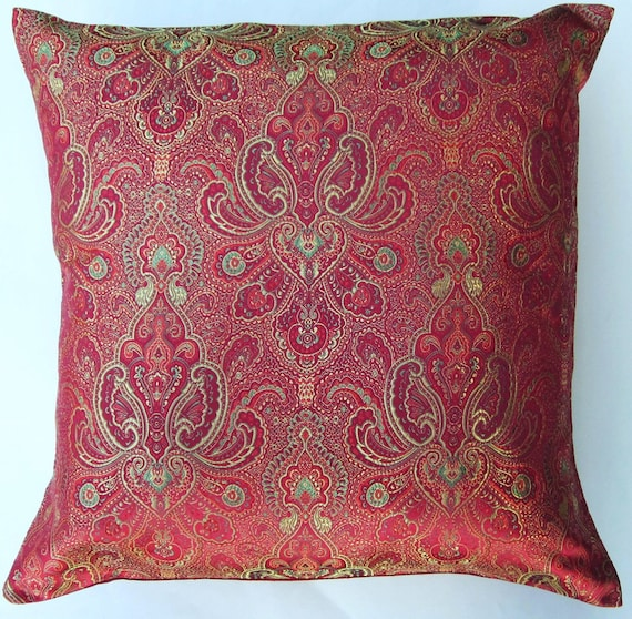Items similar to Red and Gold Throw Pillow Cover - Satin Brocade Cushion Cover - 18 x 18 on Etsy