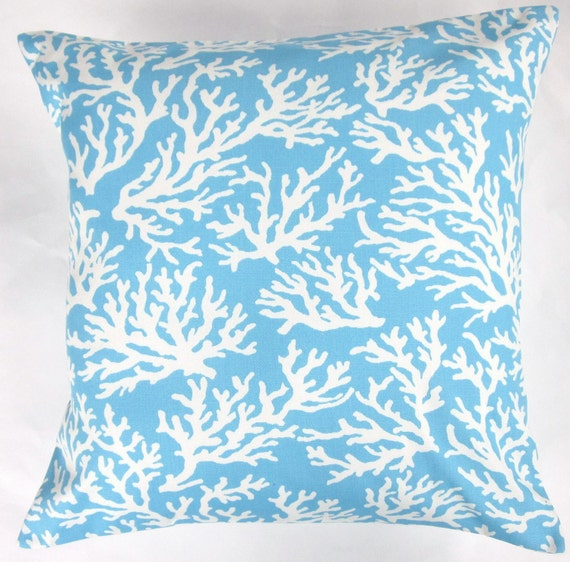 Blue Pillow Cover - Light Blue and White Coral Cushion Cover - 18x18
