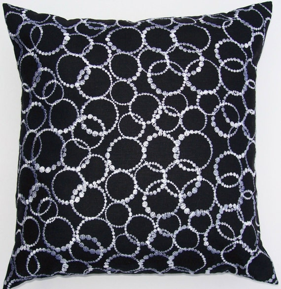 SALE Black and White Throw Pillow Cover with Embroidered White Circles - 16 x 16 Last One HALF PRICE