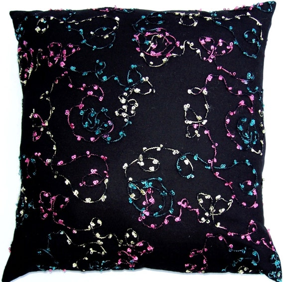 Black Pillow Cover with Aqua, Pink and Yellow Cotton Candy Swirls - 16 x 16