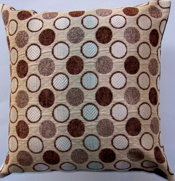 Brown Throw Pillows Etsy : Items similar to Brown Throw Pillow Cover -- Brown and Ivory Dots and Robin s Egg Blue Stripe ...