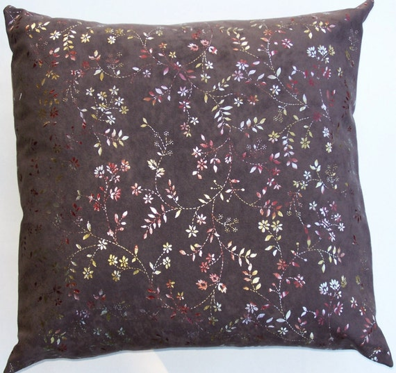 Taupe Throw Pillow Cover with Shiny Pink, Gold and Silver Flowers and Vines - 18 x 18