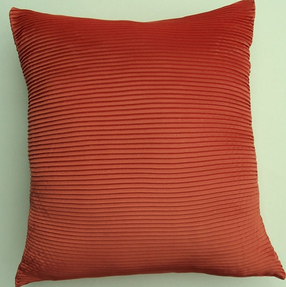 Orange Satin Pintuck Pillow