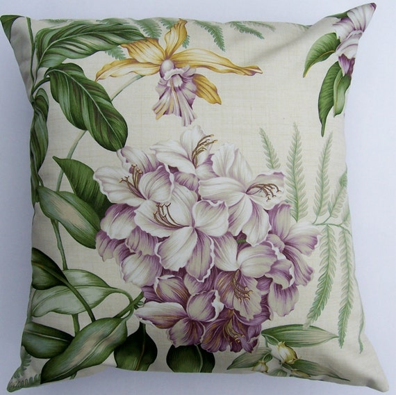 Lilac Purple Throw Pillow Cover -- Rhododendron and Orchid -- 16 x 16