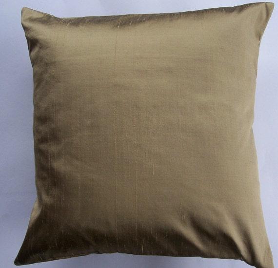 Gold Silk Decorative Pillow : Bronze Silk Throw Pillow Cover Gold Bronze Simply by sassypillows