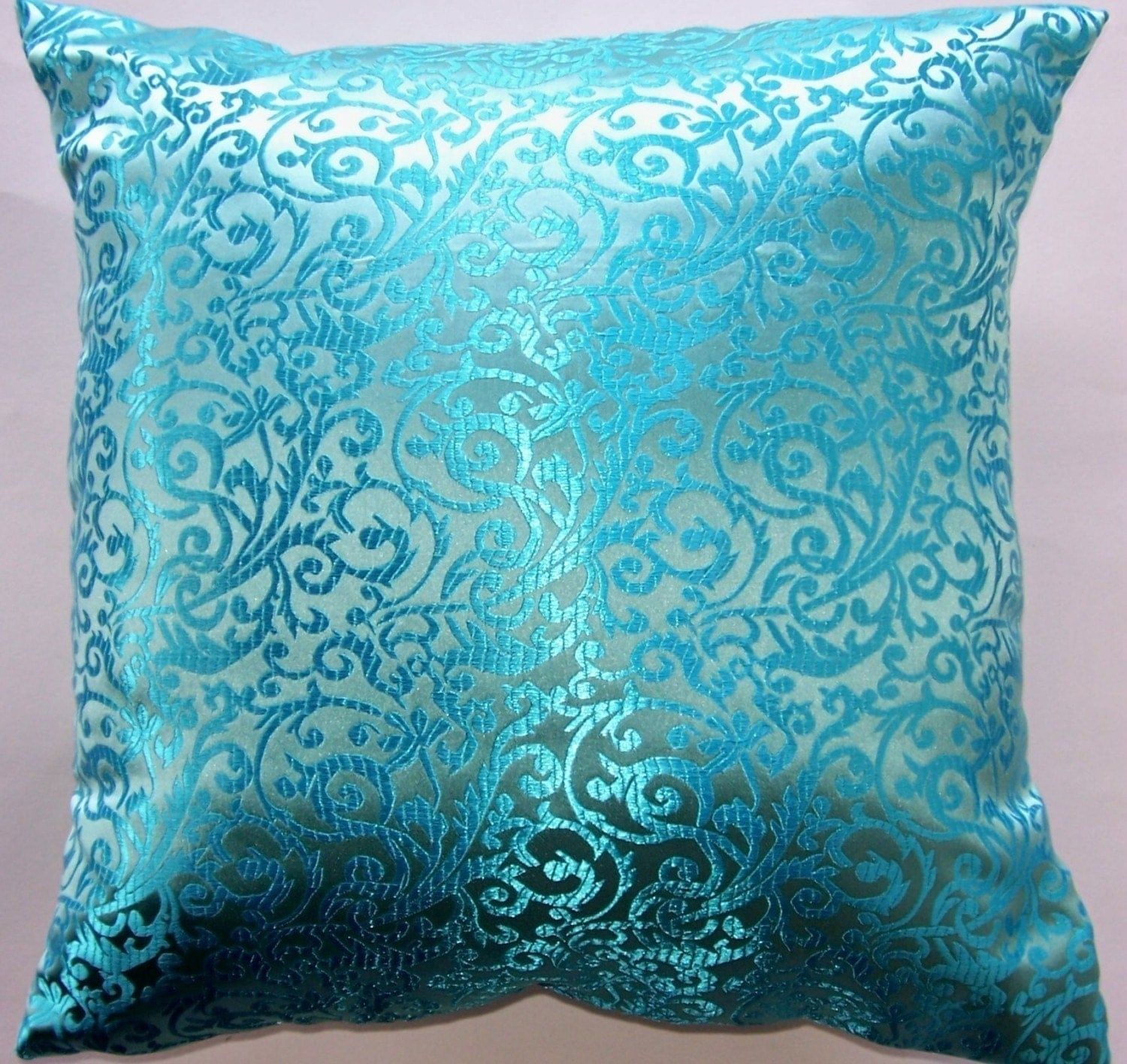 Throw Pillow Turquoise : Turquoise Throw Pillow Cover Satin Brocade Cushion Cover