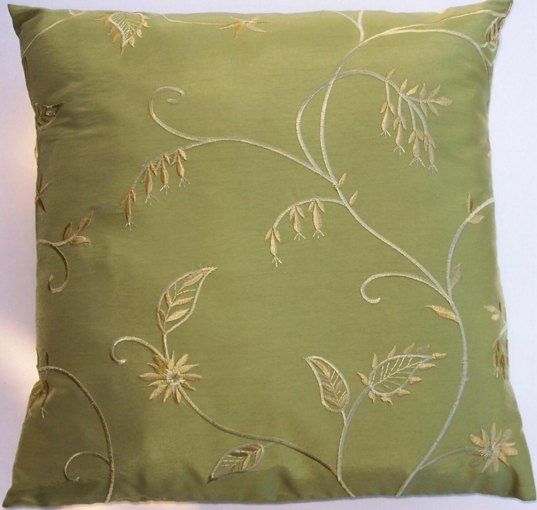 Etsy Green Throw Pillow : Green Throw Pillow Cover Silky Yellow Green Cushion Cover