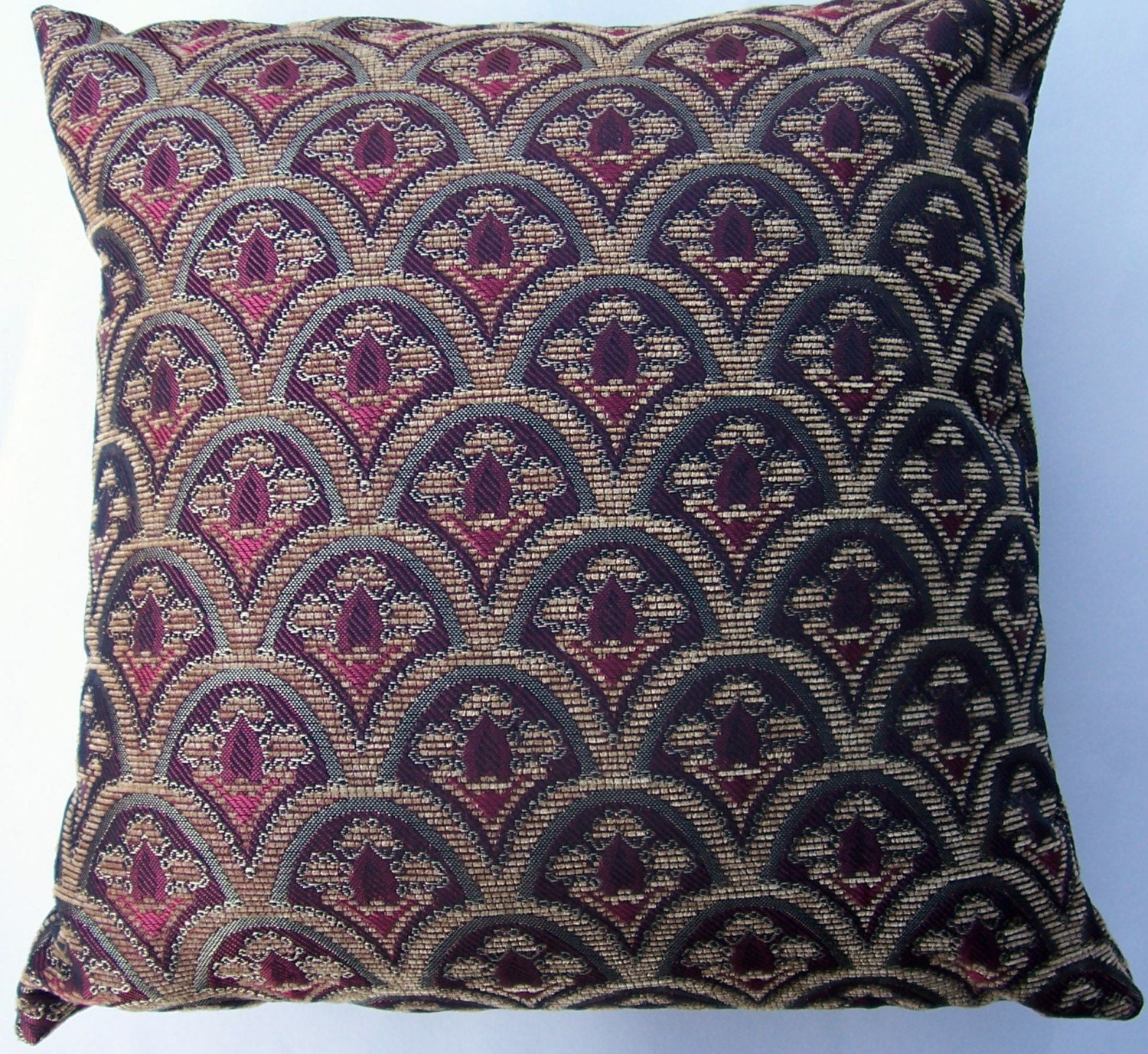 Burgundy Red and Gold Throw Pillow Cover Elegant Cushion